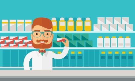 젊은 약국 화학자 남자가 약국에 서. 파스텔 팔레트, 푸른 색조 배경으로 현대적인 스타일. 벡터 평면 디자인 그림입니다. 수평 레이아웃입니다.