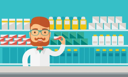 shelf: A Young  pharmacy chemist man standing in drugstore. Contemporary style with pastel palette, blue tinted background. Vector flat design illustrations. Horizontal layout.