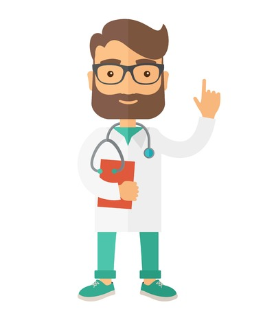 medical doctors: A Young male caucasian doctor standing beside the door with stethoscope and clipboard. A Contemporary style. Vector flat design illustration isolated white background. Vertical layout. Illustration