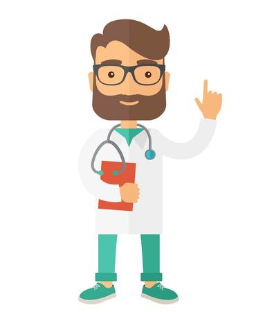 lekarz: Młody mężczyzna kaukaski lekarz stoi przy drzwiach z stetoskop i schowka. Nowoczesnym stylu. Wektor płaska ilustracji samodzielnie białe tło. układ pionowy.