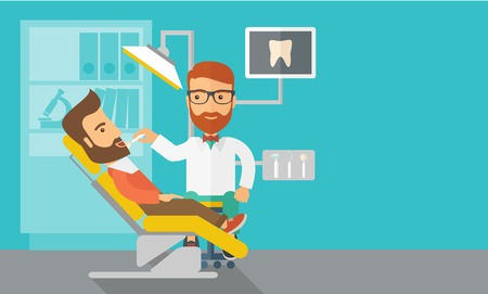 dentist cartoon: A caucasian dentist man examines a patient teeth in the clinic. Contemporary style with pastel palette, blue tinted background. Vector flat design illustrations. Horizontal layout with text space in right side.