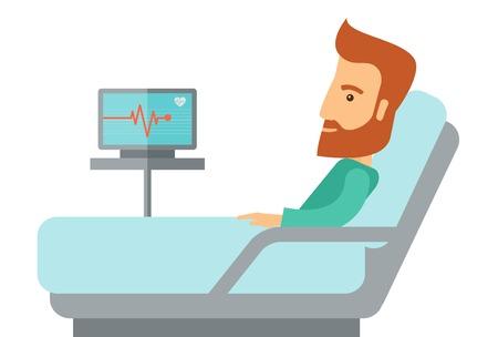 hospital dibujo animado: Paciente mentir en la cama en el hospital. Un estilo contemporáneo. Aislado Vector diseño plano ilustración de fondo blanco. Horizontal diseño Vectores