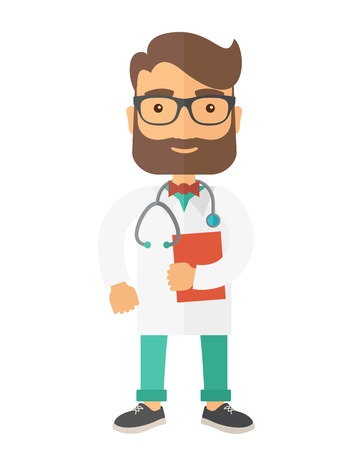cardiologist: A Young male caucasian doctor standing beside the door with stethoscope and clipboard. A Contemporary style. Vector flat design illustration isolated white background. Vertical layout. Illustration
