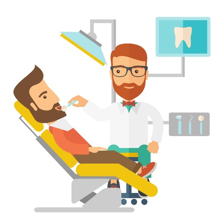 laborious: A caucasian dentist man examines a patient teeth in the clinic. A Contemporary style. Vector flat design illustration isolated white background. Square layout. Illustration