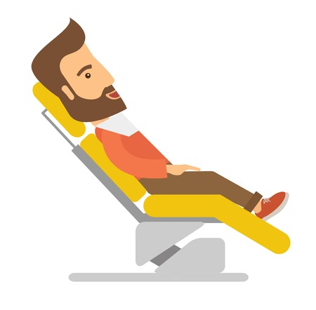 A caucasian Man lying in dentist chair.  A Contemporary style. Vector flat design illustration isolated white background. Square layout.