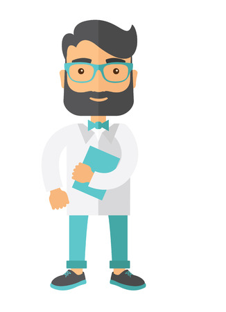 resident: A Young attractive resident doctor in eyeglasses holding a blue book. A Contemporary style. Vector flat design illustration isolated white background. Vertical layout.