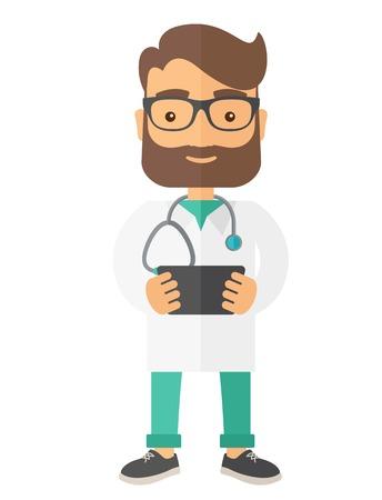 Een arts die het resultaat in x-ray. Een eigentijdse stijl. Vector platte ontwerp illustratie geïsoleerd witte achtergrond. verticale lay-out Stock Illustratie