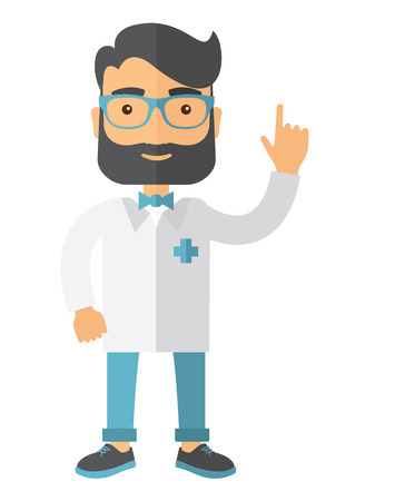 A happy caucasian doctor dressed in a white lab coat. A Contemporary style. Vector flat design illustration isolated white background. Vertical layout. Illustration