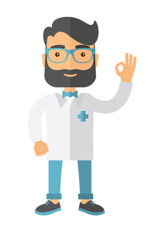 contemporary style: A friendly caucasian Doctor shows sign all ok. A Contemporary style. Vector flat design illustration isolated white background. Vertical layout.