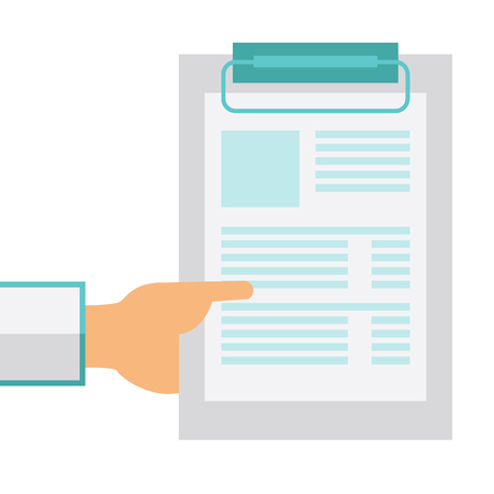 medical equipment: A hand holding clipboard with blank sheet of paper. A Contemporary style. Vector flat design illustration isolated white background. Square layout Illustration
