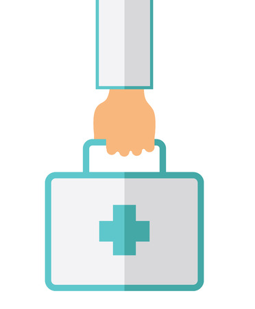 otolaryngologist: A Hand Holding First Aid Box for emergency purpose. A Contemporary style. Vector flat design illustration isolated white background. Vertical layout.