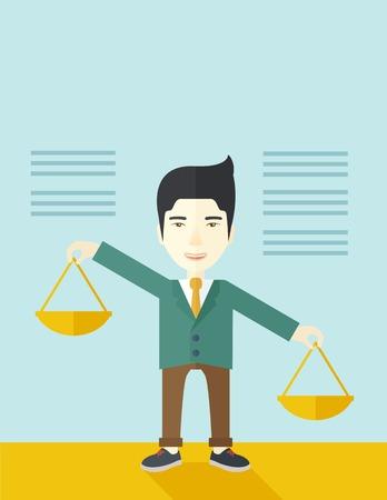 balanza: Un hombre japonés que sostiene una balanza inclinada hacia el otro lado. Equilibrio concepto. Un estilo contemporáneo con la paleta de colores pastel, fondo teñido azul suave. Vector diseño plano ilustración. Diseño vertical con espacio de texto en la parte superior.