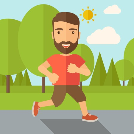 getting ready: A confident hipster athlete getting ready fo a running race. Contemporary style with pastel palette, soft blue tinted background with desaturated cloud. Vector flat design illustrations. Square layout.