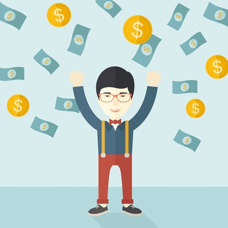 raining background: A young and cheerful chinese gentleman standing under falling raining money shower a coin and bill dollar money. Winner, happy concept. A contemporary style with pastel palette soft blue tinted background. Vector flat design illustration. Square layout. Illustration