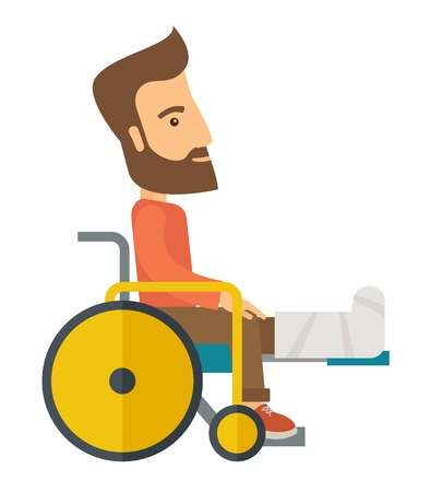 broken: A Man in a wheelchair with broken bone. A Contemporary style. Vector flat design illustration isolated white background. Vertical layout. Illustration