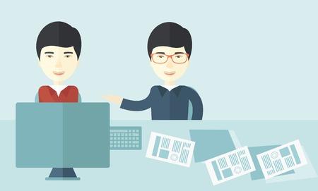 business meeting asian: Les deux jeunes hommes d'affaires asiatiques parlent la proposition de marketing avec un ordinateur portable d'un contrat de papier � signer dans la salle de r�union. concept de partenariat d'affaires. Un style contemporain avec le pastel palette douce fond teint� bleu. Vector design plat il