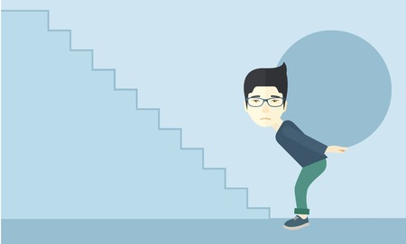 uphill: A chinese buisnessman sacrifice in carrying a big ball going up to reach the goal. A Contemporary style with pastel palette, soft blue tinted background. Vector flat design illustration. Horizontal layout.
