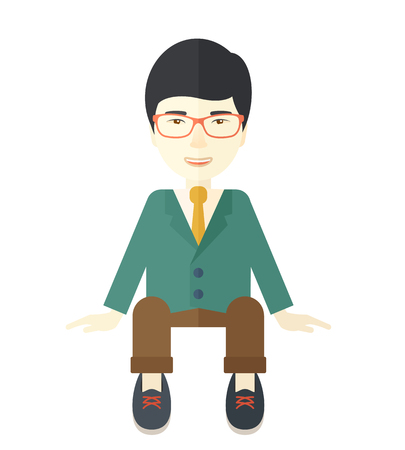 employed: A happy japanese businessman smiling while sitting for his business success. Business concept. A Contemporary style. Vector flat design illustration isolated white background. Square layout. Illustration