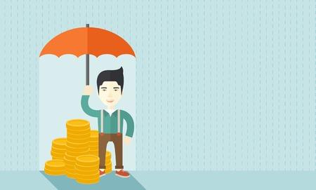 uomo sotto la pioggia: Un uomo d'affari cinese in piedi tenendo ombrello proteggendo i suoi soldi per gli investimenti, la gestione del denaro. Risparmio di denaro per qualsiasi crisi finanziaria verr�. Concetto di risparmio. Uno stile contemporaneo con palette pastello morbido sfondo blu tinta. Vettore piano desig