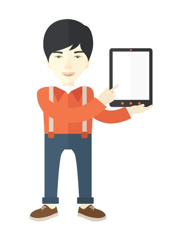 asian business: An asian guy holding a digital tablet use for his business. A Contemporary style. Vector flat design illustration isolated white background. Vertical layout Illustration