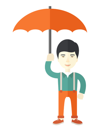 calamity: A chinese businessman standing holding umbrella for his protection in any calamity. A Contemporary style. Vector flat design illustration isolated white background. Vertical layout Illustration