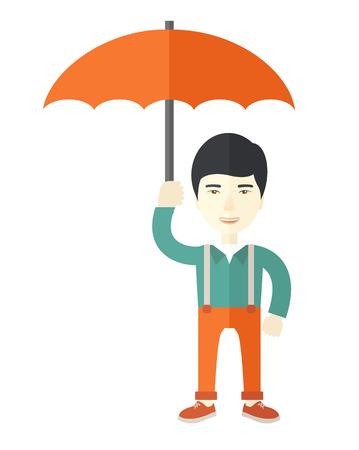 calamiteit: Een Chinese zakenman die zich met paraplu voor zijn bescherming in een ramp. Een eigentijdse stijl. Vector platte ontwerp illustratie geïsoleerde witte achtergrond. Verticale lay-out