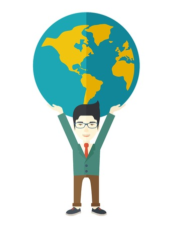 businessman carrying a globe: A chinese businessman carrying big globe it is a symbol that he is number one in the world in business society. A Contemporary style. Vector flat design illustration isolated white background. Vertical layout.