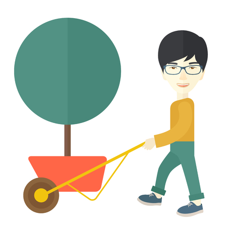 A young japanese man pushing the cart with green tree. Business growth concept. A Contemporary style. Vector flat design illustration isolated white background. Square layout. Illustration