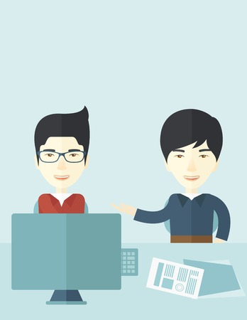 asian business meeting: The two young asian businessmen are talking about the marketing proposal with laptop a paper contract to be sign in the meeting room. Business partnership concept. A contemporary style with pastel palette soft blue tinted background. Vector flat design il Illustration