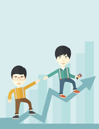 other space: A two chinese businessmen helping each other in growing business leading to success. Partnership concept. A contemporary style with pastel palette soft blue tinted background. Vector flat design illustration. Vertical layout with text space on top part. Illustration