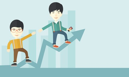 other: A two chinese businessmen helping each other in growing business leading to success. Partnership concept. A contemporary style with pastel palette soft blue tinted background. Vector flat design illustration. Horizontal layout with text space in right sid