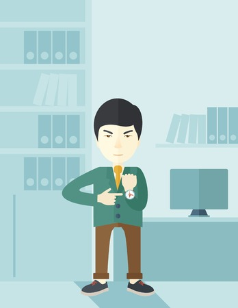 arrive: A chinese manager is angry pointing finger to his wristwatch showing the time that is already late for the employees to arrive. Late concept. A contemporary style with pastel palette soft blue tinted background. Vector flat design illustration. Vertical l