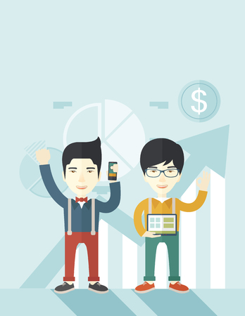 rift: A two cheerful asian businessmen with arms up high enjoying their success shown in the graph at their back. A contemporary style with pastel palette soft blue tinted background. Vector flat design illustration. Vertical layout.