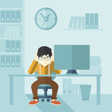 work stress: An overworked japanese businessman sitting infront of computer holding his head by two hands, under stress causing a headache. Unhappy concept. A contemporary style with pastel palette soft blue tinted background. Vector flat design illustration. Square l