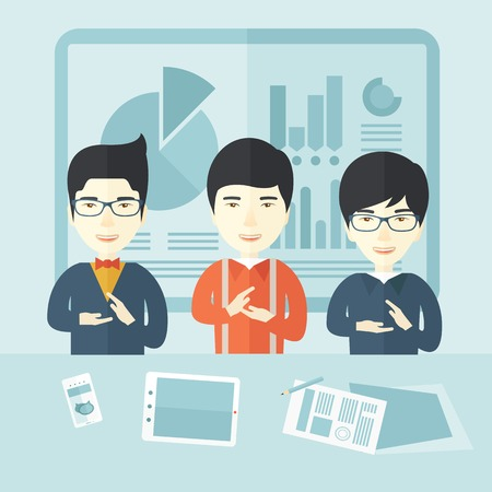 asian business: Three asian men speakers clapping their hands for a successful business financial presentation with tablet, smartphone and a paper as their guide. Teamwork concept. A contemporary style with pastel palette soft blue tinted background. Vector flat design i Illustration