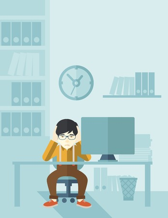 An overworked japanese businessman sitting infront of computer holding his head by two hands, under stress causing a headache. Unhappy concept. A contemporary style with pastel palette soft blue tinted background. Vector flat design illustration. Vertical