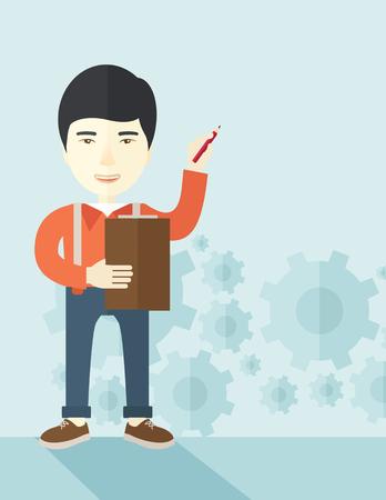 彼のペンとノートと留意点図の彼のレポートを準備する中国語講師。パステル カラーのパレット ソフト青染められた背景と現代的なスタイル。ベク