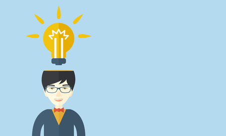 bright idea: A chinese businessman has a bright idea for marketing strategy with a bulb on his head. Human intelligence concept. A contemporary style with pastel palette soft blue tinted background. Vector flat design illustration. Horizontal layout with text space in