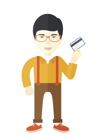 fulfillment: A happy japanese businessman thankfully standing holding his credit card. Fulfillment concept. A Contemporary style. Vector flat design illustration isolated white background. Vertical layout.