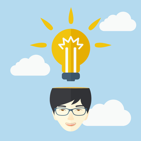 A chinese businessman has a bright idea for marketing strategy with a bulb on his head. Human intelligence concept. A contemporary style with pastel palette soft blue tinted background with desaturated cloud. Vector flat design illustration. Square layout