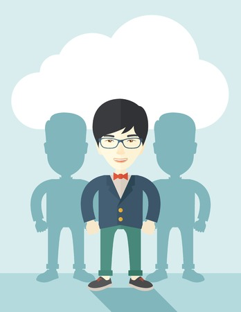 guy standing: A very confident japanese guy standing straight showing that he has a strong teambuilding togetherness. Teamwork concept. A contemporary style with pastel palette soft blue tinted background with desaturated cloud. Vector flat design illustration. Vertica Illustration