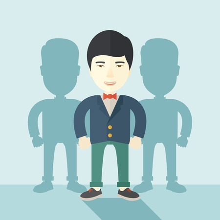 guy standing: A very confident japanese guy standing straight showing that he has a strong teambuilding togetherness. Teamwork concept. A contemporary style with pastel palette soft blue tinted background. Vector flat design illustration. Square layout.
