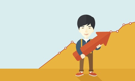 A happy and lucky young chinese guy holding arrow growing sign, successful in business career. Prosperity concept. A contemporary style with pastel palette soft yellow and blue tinted background. Vector flat design illustration. Horizontal layout. Illustration