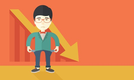 A chinese young man standing and feels bad because of his failure in his business career. Failed, bankrupt concept. A contemporary style with pastel palette soft orange tinted background. Vector flat design illustration. Horizontal layout with text space