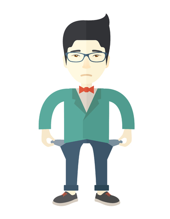 young man standing: A chinese young man standing and feels bad because of his failure in his business career. Failed, bankrupt concept. A Contemporary style. Vector flat design illustration isolated white background. Vertical layout