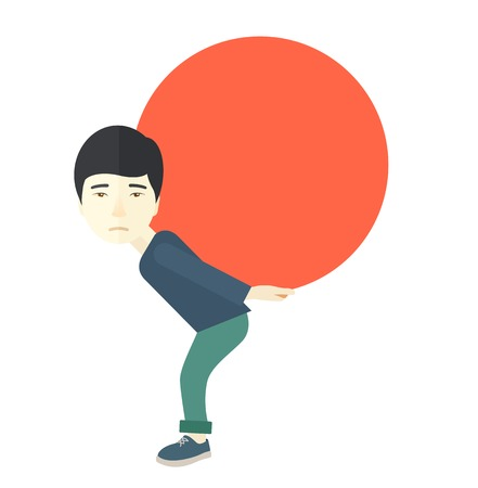 uphill: An asian buisnessman sacrifice in carrying a big ball going up to reach the goal concept. A Contemporary style. Vector flat design illustration isolated white background. Square layout.