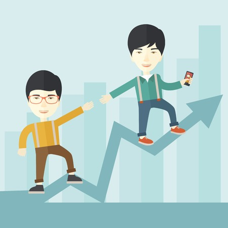 A two chinese businessmen helping each other in growing business leading to success. Partnership concept. A contemporary style with pastel palette soft blue tinted background. Vector flat design illustration. Square layout.
