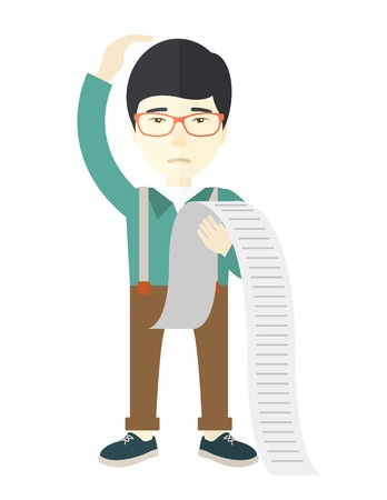 depress: A sad japanese employee  standing holding a paper feels headache and worries about paying a lot of bills. Problem, worries concept. A Contemporary style. Vector flat design illustration isolated white background. Vertical layout