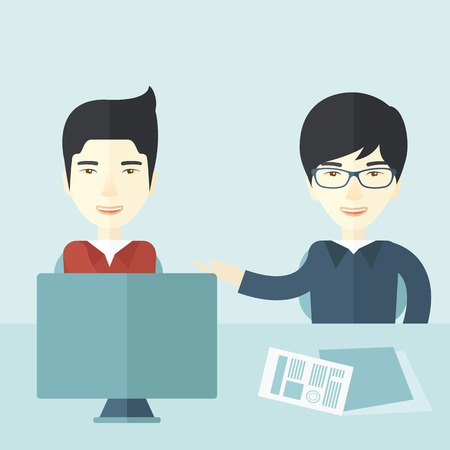 business meeting asian: The two young asian businessmen are talking about the marketing proposal with laptop a paper contract to be sign in the meeting room. Business partnership concept. A contemporary style with pastel palette soft blue tinted background. Vector flat design il Illustration