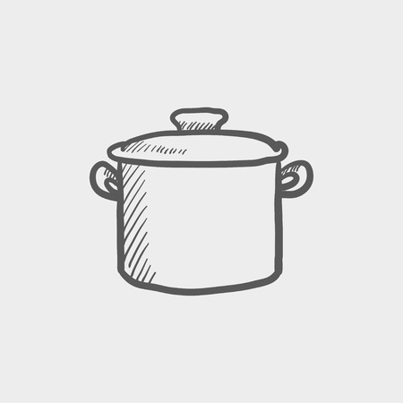 Casserole sketch icon for web and mobile. Hand drawn vector dark grey icon on light grey background.